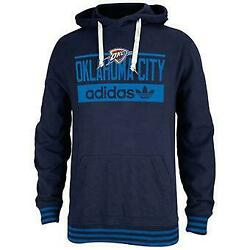 Official Nba Adidas Oklahoma City Thunder Large Navy Pullover Hoodie Fast B51