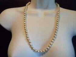 Miriam Haskell Sign Long Creamy White Baroque Glass Pearl Necklace Beautiful