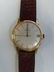 Vintage ZENITH 18k Solid Rose Gold Watch Caliber 2522C Works and keeps time