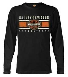 Harley Davidson Men#x27;s Custom Iconic Bamp;S Long Sleeve Crew Neck Shirt Black $19.95