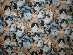 CATS REAL KITTY CAT COLORS COTTON FABRIC BTHY