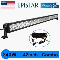 42 240w Led Light Bar Offroad Driving Lamp Work Suv Trailer 4wd Boat+wiring Kit
