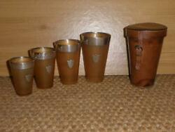 Antique 1906 Silver Set Of 4 Travel Cups With Leather Case And039a. T. Scottand039
