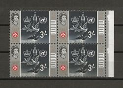 Malta 1965-70 Sg 345b Gold Omitted Mnh Block Of 4 Cat Andpound800