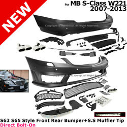 Full Body Kit MB 07-13 S63 S65 AMG Style Front Rear Bumpers Muffler Tip Set W221