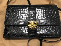 AUTHENTIC Vintage Black Alligator bag by Hermes collier clasp $3,149.99
