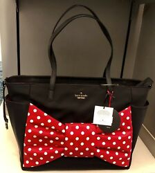 Disney Parks Kate Spade Baby Diaper Tote Black With Minnie Red Bow Bag