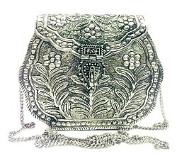 Indian Vintage Brass silver clutch Purse antique Ethnic Handmade Women metal bag $39.00