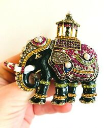 HIGH END VINTAGE ESTATE CARRIAGE CIRCUS ENAMEL&RHINESTONE&PEARLS ELEPHANT BROOCH