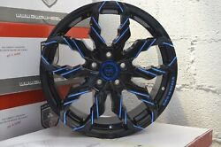 4 GWG Wheels G47 18 inch Black Blue Mill Rims  fits CHEVY IMPALA 2000 - 2013