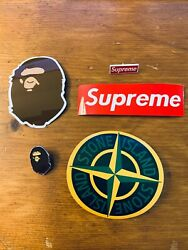 Supreme Bape Pins And Stone Island Stickers Box Logo Bogo Decals Hypebeast Pack