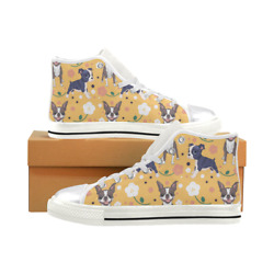 Boston Terrier Sneakers Lace Up High Top Canvas Flat Casual Shoes for Women