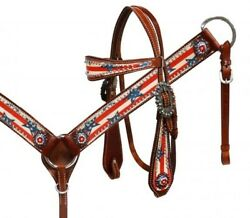 Showman Patriotic Leather Bridle And Breast Collar Set W/ Stars And Stripes New Tack