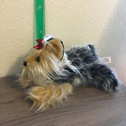 Animal Alley Yorkshire Terrier Dog Plush Long Hair Red Bow Realistic Black Brown