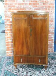 English Antique Queen Anne 2 Doors And 1 Drawer Cabinet Wardrobe / Armoire