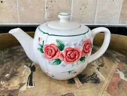 Mary Ann Baker Otagiri Japan Hand-crafted Pink Rose And Purple Violet Teapot