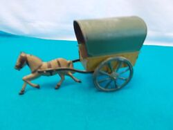 American Tin Horse Drawn Covered Wagon Toy Fallows Brown 1880's-1910 5