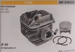 11290201202 Cilindro And Piston Complete Chainsaw Stihl Ms200 Ms200t Ø 40