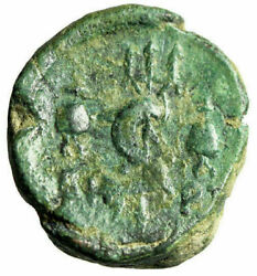 Phoenicia Berytus Ae21 Tyche And Dolphin Entwined Trident Dioscuri Caps Rare