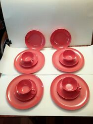 Branchell Melmac Rose/red 14 Piece Cups, Saucers, Plates, Bowls Set