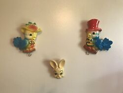 Vintage Mr And Mrs Bluebird Chalkware And Bunny Chalkware Wall