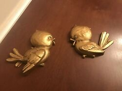 Vintage Univeral Statuary Anthropomorphic Plastic Gold Wall Birds