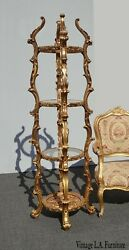 Vintage Gold Rococo Etagere Stand Italian Style Display Case 2