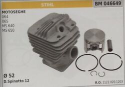 11220201203 Cylinder And Piston Complete Chainsaw Stihl 064 065 Ms 640 650 Ø 52