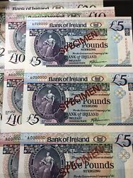 1990-1991 3pc x Uncut ireland specimen 5 10 20 pounds Banknote rare