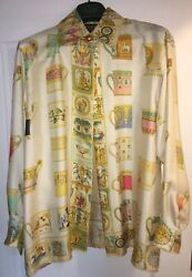 GUCCI AUTHENTIC VINTAGE TEACUPS SILK SHIRT BLOUSE SIZE 42 COLLECTION CIRCA 1993