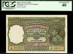 British India 100 Rupees Taylor Nd 1937 Cawnpore Pick-20g Extra Fine Pcgs 40