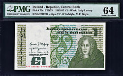Ireland One Pound 1986 Solid Serial 222222 Pick-70c Pmg 64