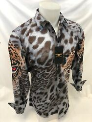 Mens Premiere Long Sleeve Button Down Dress Shirt Brown Spotted Leopard Eyes 614