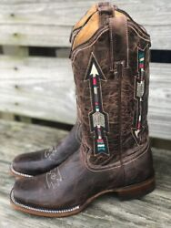 Roper Womenand039s Waxy Brown Arrow Square Toe Western Boots 09-021-7022-1426
