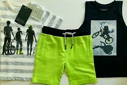 NWT Mayoral Boys Szs: 4 & 6 NavyLime 3-pc Set  Boys on Wheels 2 Shirts + Shorts