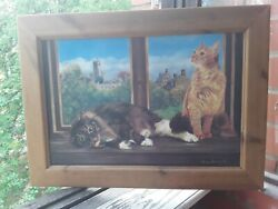 Painting Cat Oil Cats Resting In The Background Looking Out The Window Marshall