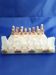 Vintage Hand Carved Aztec Marble Mini Chess Board Game