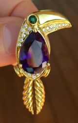 Tiffany & Co 18k Diamond Amethyst Tsavorite Toucan Brooch Pin *Rare* *Vintage*