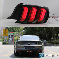 Set Of Led Blacked Tail Lights For Ford Mustang 2015-2020 Smoked Lens Rear Lamp