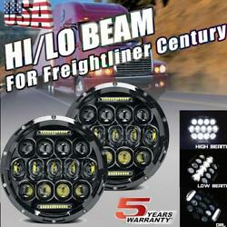 For Freightliner Century 7 In Round Led Headlights Pair Hi-lo Beam Dot Approved