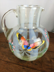 Vintage Art Glass Striped Hand Painted Pitcher Flowers Butterfly Wh-1