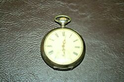 Antique Swiss Silverplate Ancre Ligne Droite 15 Rubis Working Pocket Watch