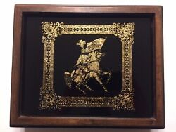 Beautiful Wood Cigar Box Gold Knight Glass Madrigal Old Excellent Condition A2