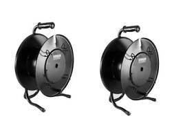 2 Cable Ethernet Snake Drum Reels Black Metal With A D-series Hole Punch Out