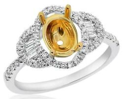 .37ct Diamond 18kt 2 Tone Gold Oval Round And Baguette Semi Mount Engagement Ring