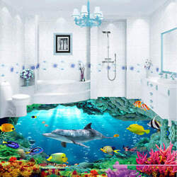 Cave Dolphin Coral 3d Floor Mural Photo Flooring Wallpaper Home Print Decoration