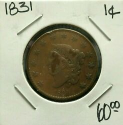 1831 1c Coins Us Large Cents Coronet Head