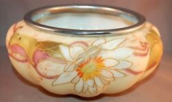 Enameled Fabulous Smith Brothers Victorian Art Glass Marked Silver Rimmed Bowl