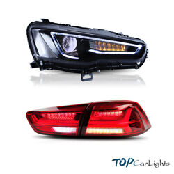 Led Blackout Headlights And Red Tail Lights For Mitsubishi Lancer | Evo X 08-17