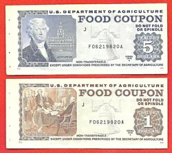 Usda Food Coupons Stamp 1 And 5 1978 A Unc Same Serial Number F06219820a M/c J